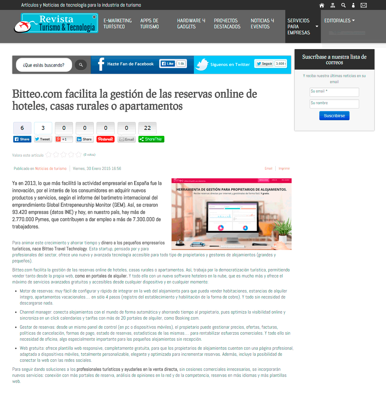 Aparición en Revista Turismo & Tecnología